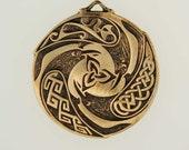Bronze Triple Raven Triskele Pendant- a Celtic design