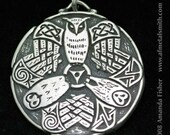 Triple Owl Triskele Pendant- A Celtic Design