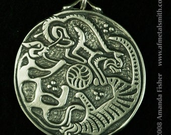 Triple Cats Triskele Pendant- a Celtic design