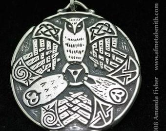 Triple Owl Triskele Pendant- A Celtic Design