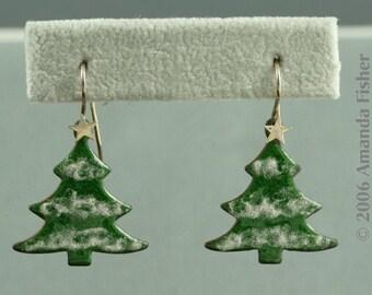 Winter Pine Earrings with glass enamel