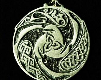 Triple Raven Triskele Pendant- A Celtic Design