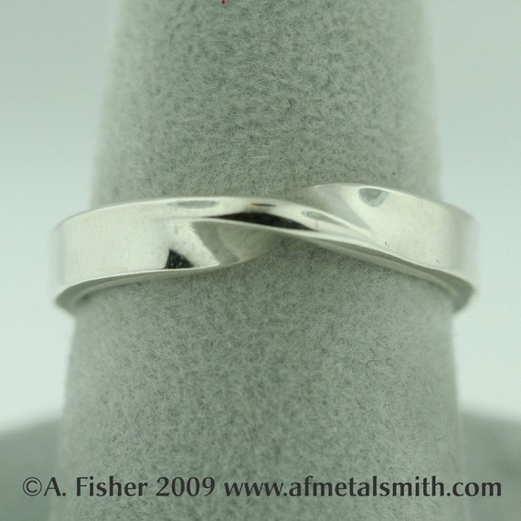 Mobius Wedding or Committment Ring in Sterling Silver/Palladium