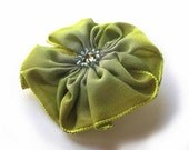 little flower brooch in lime and periwinkle