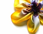 silk flower brooch in yellow and violet