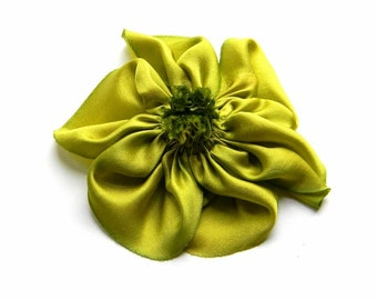 silk flower brooch in lime