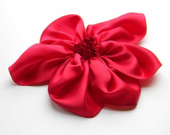 big silk flower brooch in RED