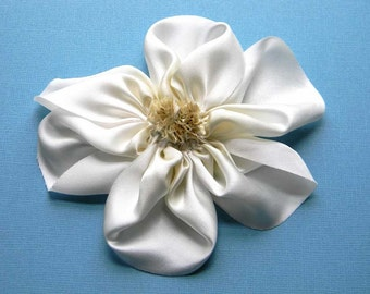 silk flower brooch in ivory and white