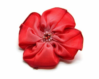 siren red ribbon flower brooch