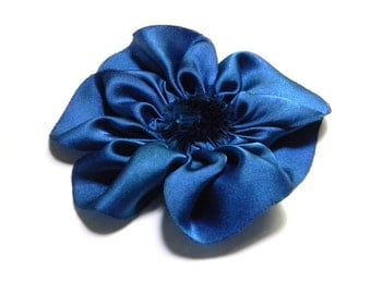royal blue flower of mystery hairclip or brooch hand dyed silk