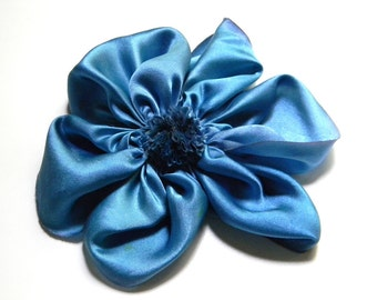 large french blue flower of mystery brooch or hair clip