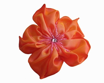 orange and pink flower brooch or hair clip
