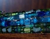 Blue, Green, White Memory Wire Bracelet