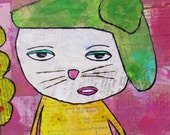 Colorful Folk Art Whimsy. Customized ORIGINAL PAINTING. Free USA Ship. Mama n Baby Kitty Cat. Colorful Quote. Any LadyBird Saying.