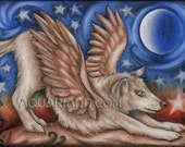 Wolf Angel - Winged Wolf Art - Fridge Magnet