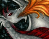 Fire Dragon Art - Fridge Magnet of Color Pencil Drawing