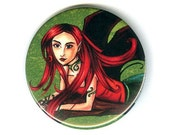 Tree Fairy Picture - Pinback Button - Redhead Elf Art
