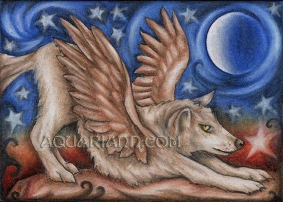 Wolf Angel - Winged Wolf Art - Fridge Magnet