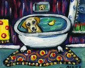 Yellow Labrador whimsical bath original dog painting