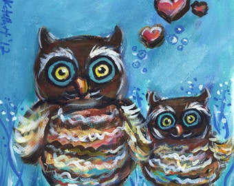 Whimsical Owl momma hearts original owl art painting