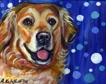 Golden Retriever smile portrait original dog painting