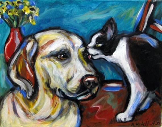 Labrador tuxedo cat kiss original pet painting
