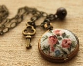 Floral Fabric Dome Necklace