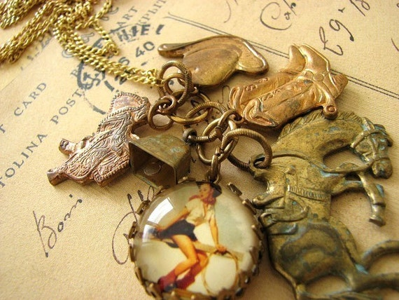 Vintage Cowgirl Pinup Cluster Charm Necklace
