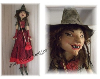 Primitive Wall Witch Art Doll Sewing e Pattern