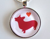 Corgi Silhouette Necklace red and orange with heart round glass pendant