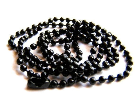 Black Ball Chain Necklace - chain for pendant, adjust size, jewelry supply