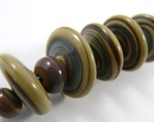 Free Shipping for this Set of Five Handmade Glass Raku Disk Beads