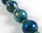 Free Shipping for this set of Four Round Gaia Glass Beads with Micro Gaia Accents