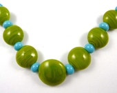 Free Shipping for this Handmade Lime Green Glass Lentil Bead Set