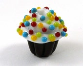 Free Shipping for this Multi Colored Sprinkles Top this Handmade Glass Chocolate Cupcake Bead