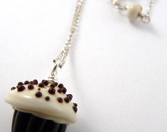 Free Shipping for this Super Tasty Handmade Glass Chocolate Cupcake Bead with Cream Cheese Frosting and Chocolate Sprinkles on Top Deliciously Dangling From a Simple Sterling Silver Chain