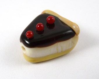 Handmade Boston Cream Pie Glass Bead with Cherries on Top