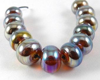Set of Twelve Aurae Accent Handmade Glass Beads