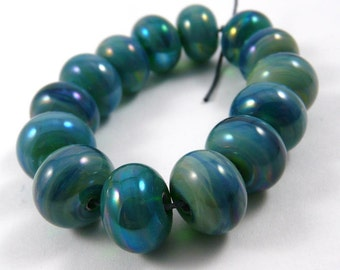 Free Shipping for this Set of Fourteen Gaia Accent Handmade Glass Beads