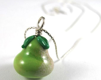 Free Shipping for this Handmade Glass Pear Bead That Dangles from a Simple Sterling Silver Chain