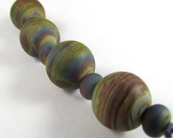 Four Round Raku Glass Beads with Micro Raku Accents