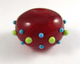 Free Shipping for this Handmade Large Red Hollow Glass Bead with Turquoise and Lime Bumpies