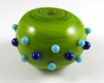 Free Shipping for this Handmade Large Lime Green Hollow Glass Bead with Turquoise and Cobalt Bumpies