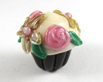 Deliciously Adorable Handmade Glass Chocolate Cupcake Bead With Cream Cheese Frosting and Golden Aurae Flowers and Pink Roses