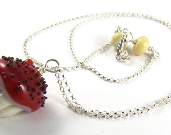 Tasty Handmade Vanilla Cupcake with Cherry Glaze and Chocolate Sprinkles with Two Cherries on Top on a Sterling Silver Chain