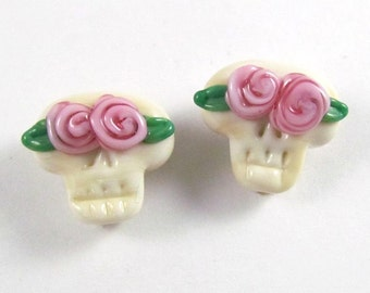 Pair of Handmade Lampwork Skull Beads with Pink Rose Accents
