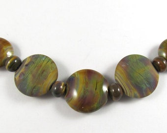 Free Shipping for this Set of Five Handmade Raku Glass Lentil Beads with Micro Raku Accents