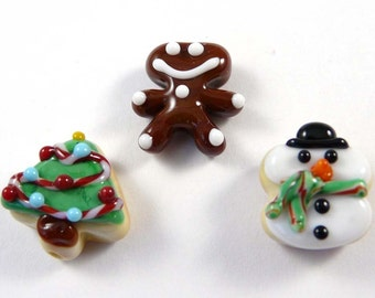Three Handmade Christmas Cookie Glass Beads