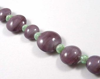 Free Shipping for this Handmade Purple Vintage Glass Lentil Bead Set with Micro Dichro Accents