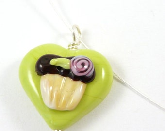 Free Shipping for this I Heart Cupcakes Handmade Glass Heart Pendant